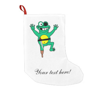 Pirate frog cartoon small christmas stocking