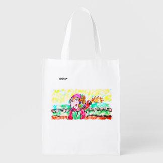 Pirate girl art reusable grocery bag