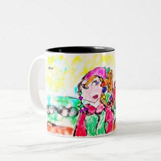 Pirate girl art Two-Tone coffee mug
