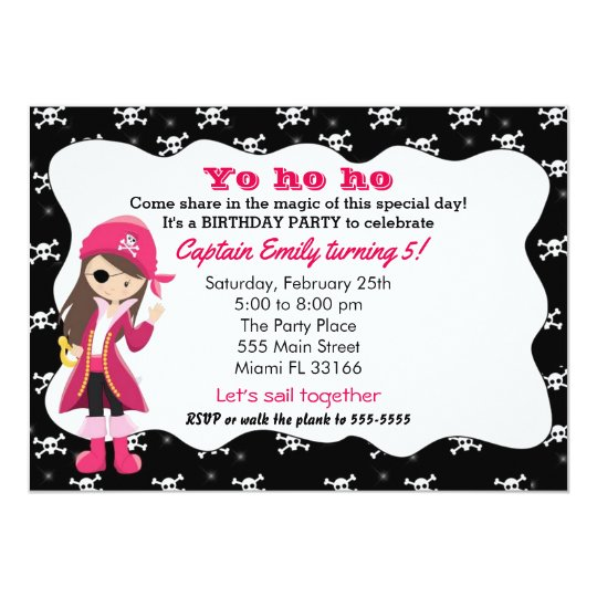 Pirate Girl Birthday Party Invitation