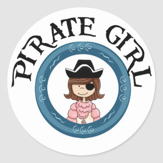 Pirate Girl Classic Round Sticker