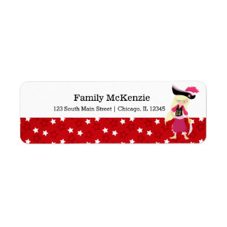Pirate girl party return address label
