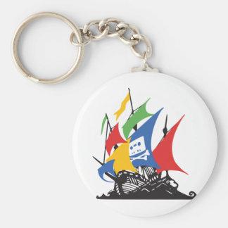 Pirate Google Basic Round Button Keychain