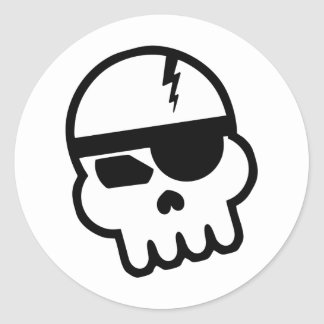Pirate Hacker Skull Classic Round Sticker