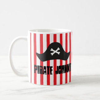 Pirate Hat Bones Red Stripes Funny Mug