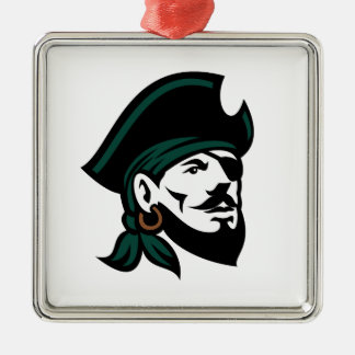 Pirate Head Eyepatch Looking Up Retro Metal Ornament