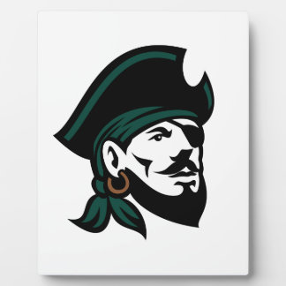 Pirate Head Eyepatch Looking Up Retro Plaque