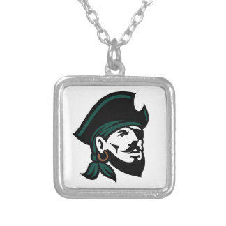 Pirate Head Eyepatch Looking Up Retro Silver Plated Necklace