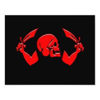 """Pirate Icon #3-Red 4.25"""" X 5.5"""" Invitation Card"""