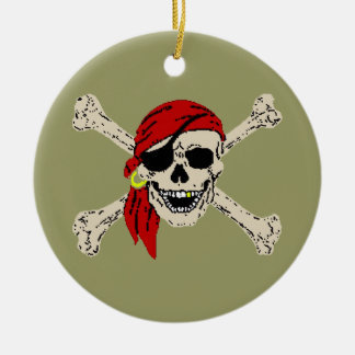 Pirate Jolly Roger Ceramic Ornament