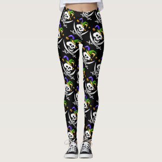 Pirate, Jolly Roger, Mardi Gras style, Leggings