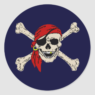 Pirate, Jolly Roger, Skull Classic Round Sticker