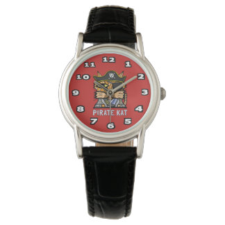 """Pirate Kat"" Classic Womens Black Leather Watch"
