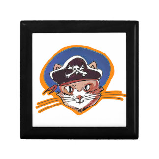 pirate kitty cartoon style funny illustration gift box