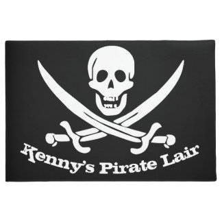 Pirate Lair Personalized Skull and Cutlasses Doormat