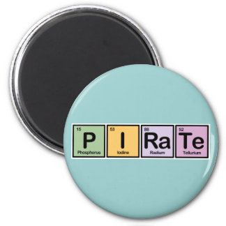 Pirate made of Elements 2 Inch Round Magnet