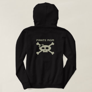 Pirate Mom Cute Skull and Crossbones Custom Text Hoodie