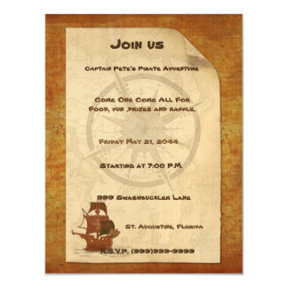 Pirate Mystery Ship Magnetic Invitations