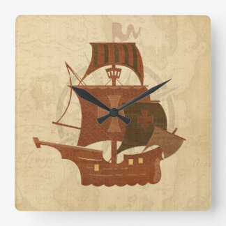 Pirate Mystery Ship Square Wall Clock