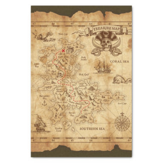 Pirate Old Vintage Treasure Map Birthday Party Tissue Paper