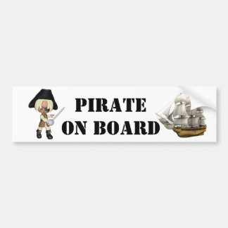Pirate On Board Bumper Sticker