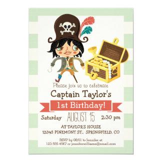 Pirate on Pastel Green Stripes 5x7 Paper Invitation Card