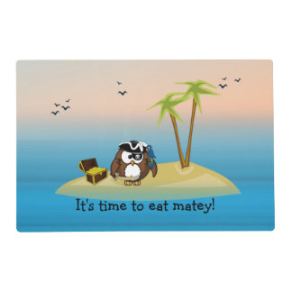 pirate owl & treasure quest placemat laminated place mat