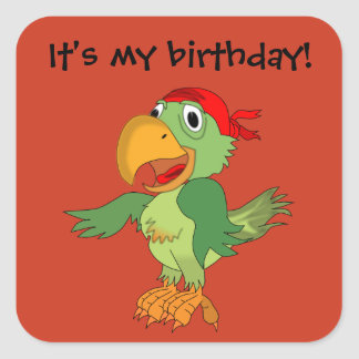 Pirate Parrot  on Orange Birthday Sticker