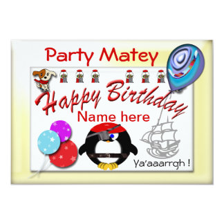 Pirate Party Matey 5x7 Paper Invitation Card