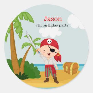 Pirate party round sticker