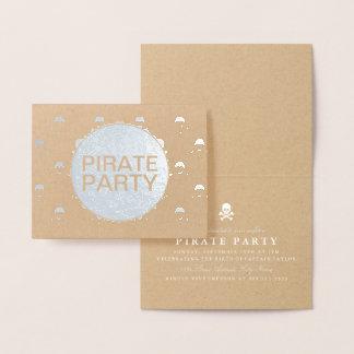 Pirate Party Silver Foil Skull Stripe Foil Card