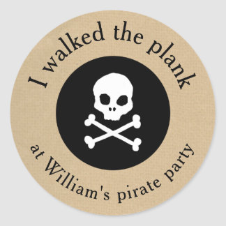Pirate party walk the plank sticker