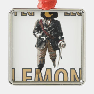 Pirate 'Peg Leg' Lemon Silver-Colored Square Ornament