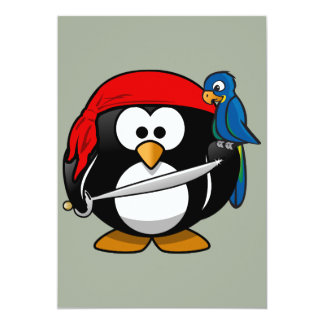 Pirate penguin parrot card