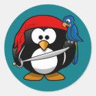 Pirate penguin parrot classic round sticker