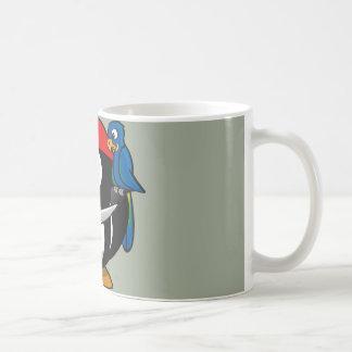 Pirate penguin parrot coffee mug