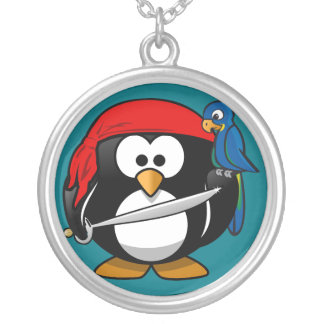 Pirate penguin parrot silver plated necklace