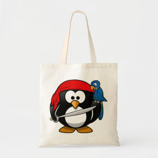 Pirate penguin parrot tote bag