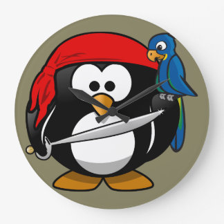 Pirate penguin parrot wallclock