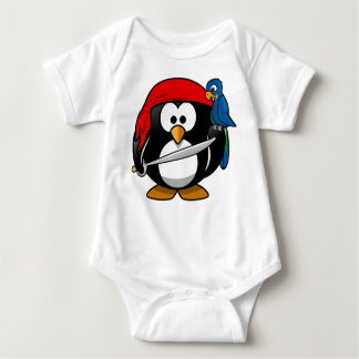 Pirate Penguin with a Red Bandanna and a Parrot Baby Bodysuit