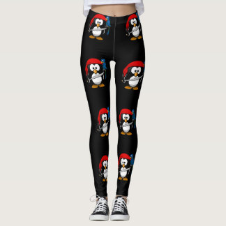 Pirate Penguin with a Red Bandanna and a Parrot Leggings