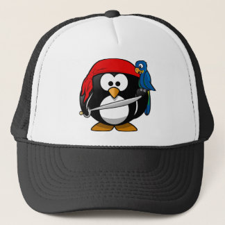 Pirate Penguin with a Red Bandanna and a Parrot Trucker Hat