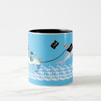 Pirate penguin with shark Two-Tone coffee mug