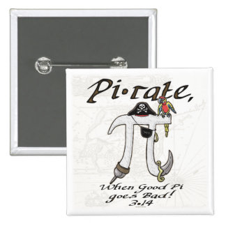 Pirate Pi Day Gear Pinback Buttons
