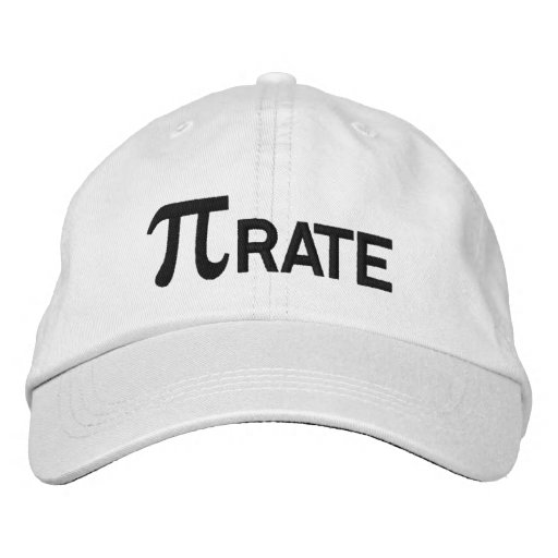 Pirate pi geek humor embroidered baseball cap