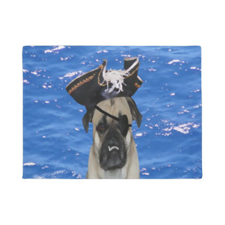 Pirate Pug Dog Door Mat