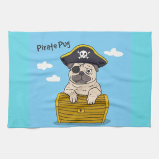 Pirate Pug Kitchen Towel