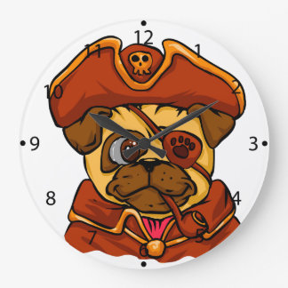 Pirate pug large clock