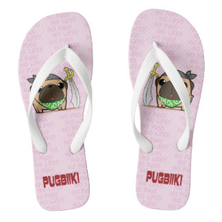 Pirate pug (phone) beach sandal (wide for adult)