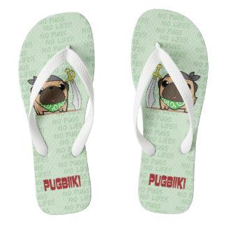 Pirate pug (phone) beach sandal (wide for adult) flip flops